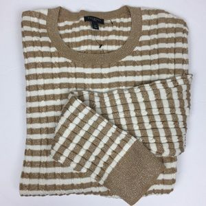 NWOT Talbots Shimmer Gold Striped Sweater 1X